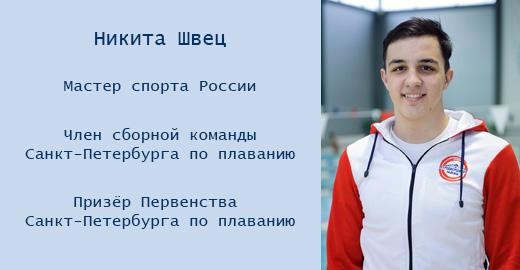 Швец Никита Александрович - мастер спорта по плаванию